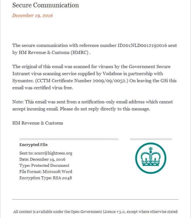 New HMRC Virus email scam